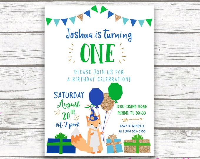 Fox Birthday Invitation Boy, Fox Invitation, Fox Birthday Party, First 1st Birthday Invitation Boy, Blue and Green Printable Invite