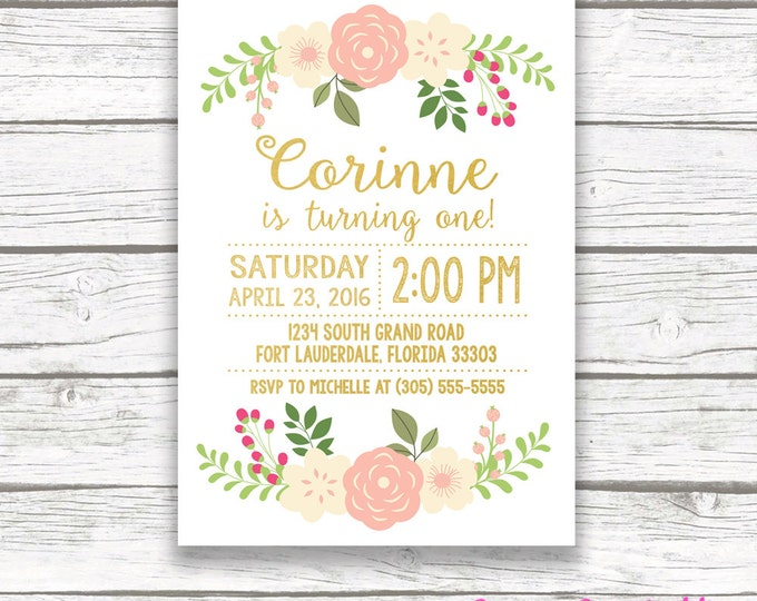 First Birthday Invitation Girl, Floral First Birthday Invitation, Pink and Gold Birthday Invitation, Girl Birthday, Printable Invite