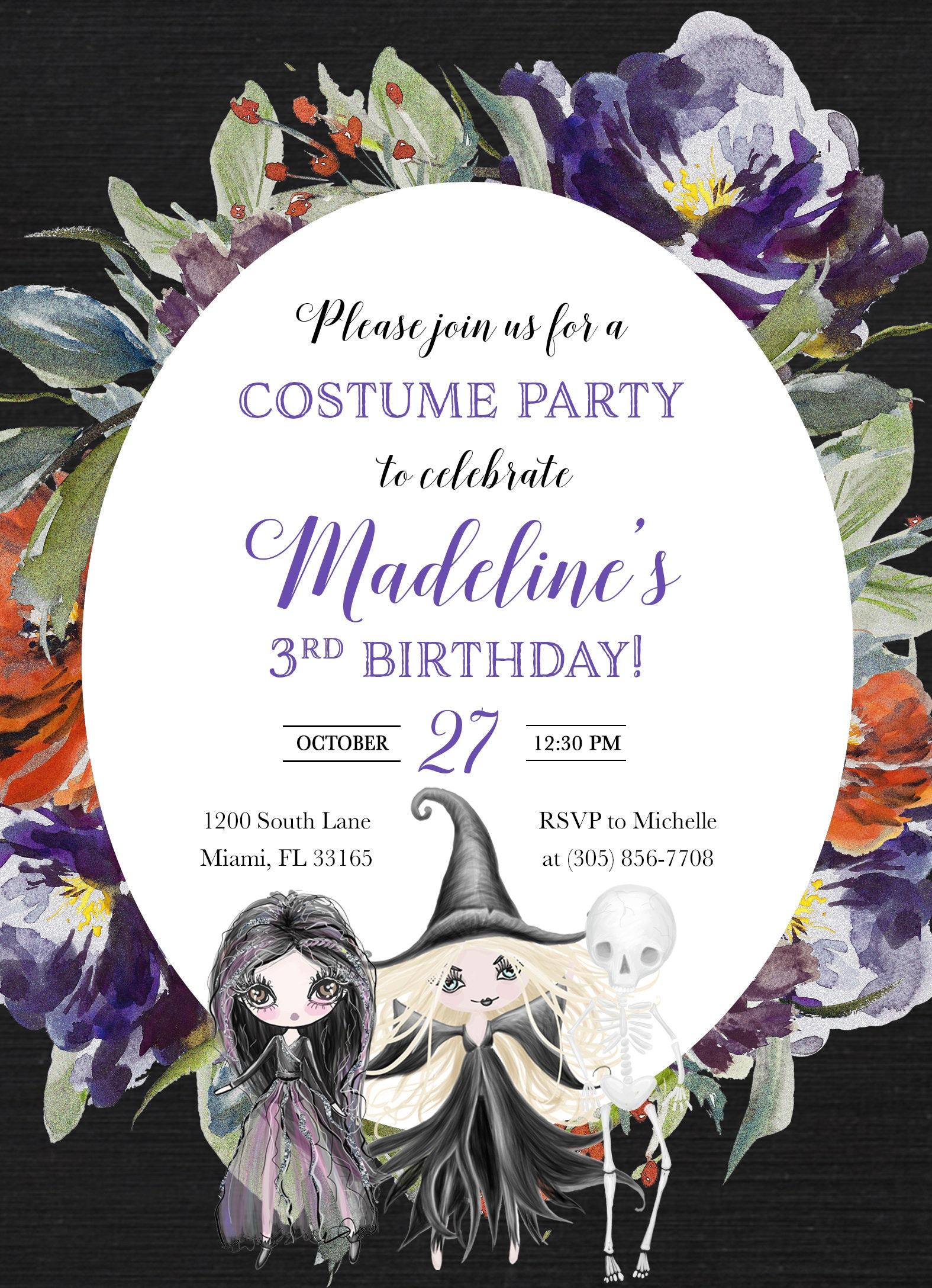 Witch Halloween Invitation Girl Birthday 1st First
