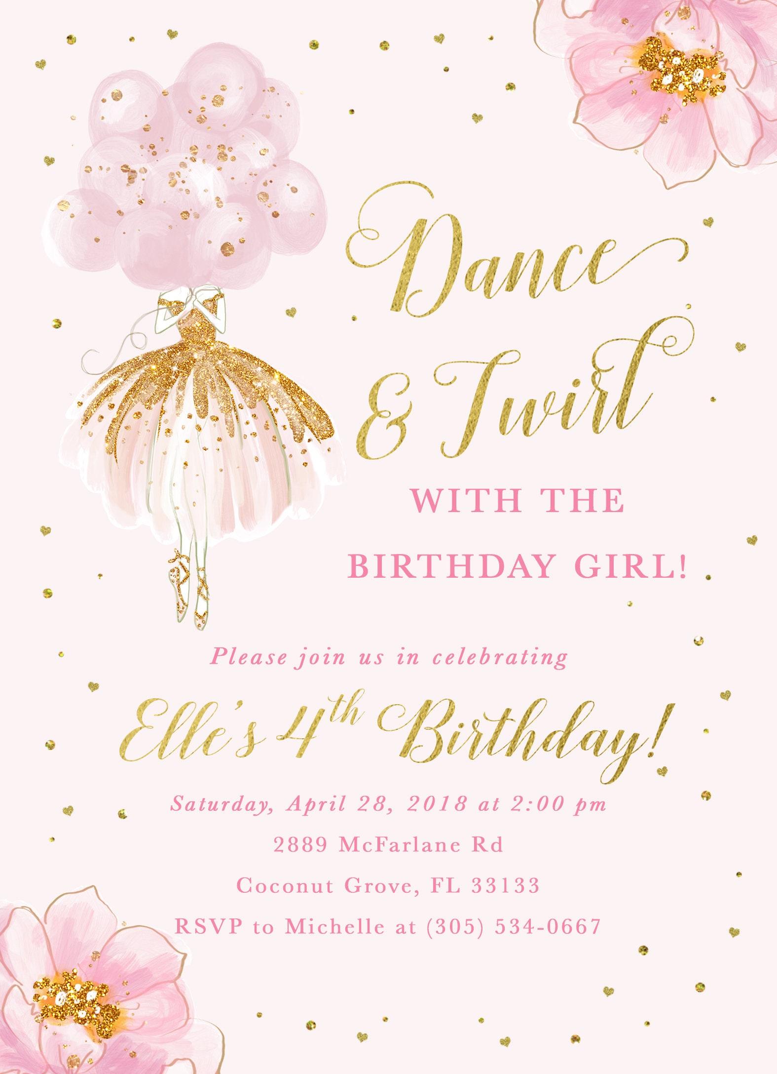 Ballerina Birthday Invitation, Ballet Birthday Invitation, Dance and ...