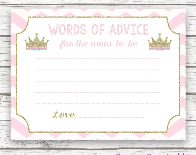 Pink and Gold Glitter Princess Baby Shower Advice for Mom Wishes for Baby Card, Printable Baby Shower Wishes for Baby, Baby Girl Shower
