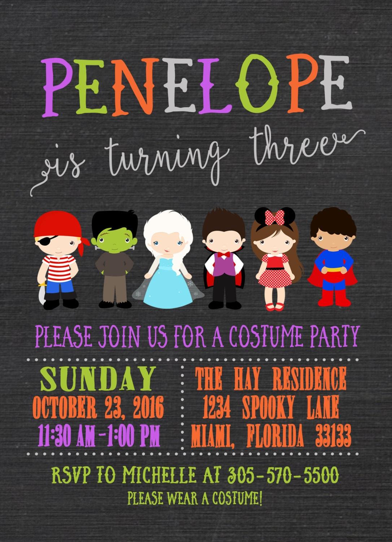 Kids Costume Party Invite Printable Gallery Photo