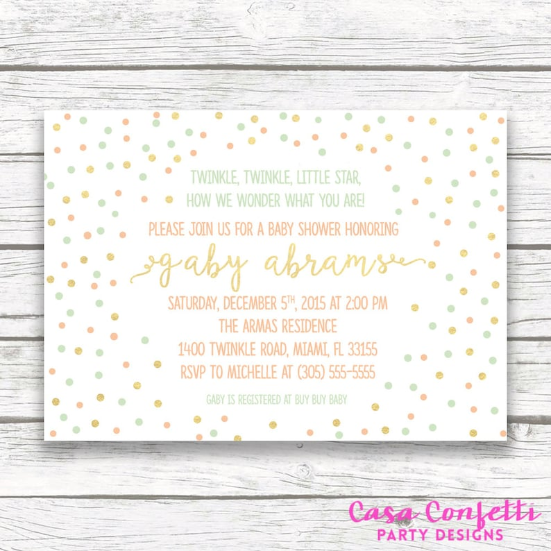 image about Free Printable Twinkle Twinkle Little Star Baby Shower Invitations called Twinkle Twinkle Minimal Star Boy or girl Shower Invitation, Gender Impartial Boy Lady, Confetti Gold Mint Peach Dot Confetti, Posted Printable Invite