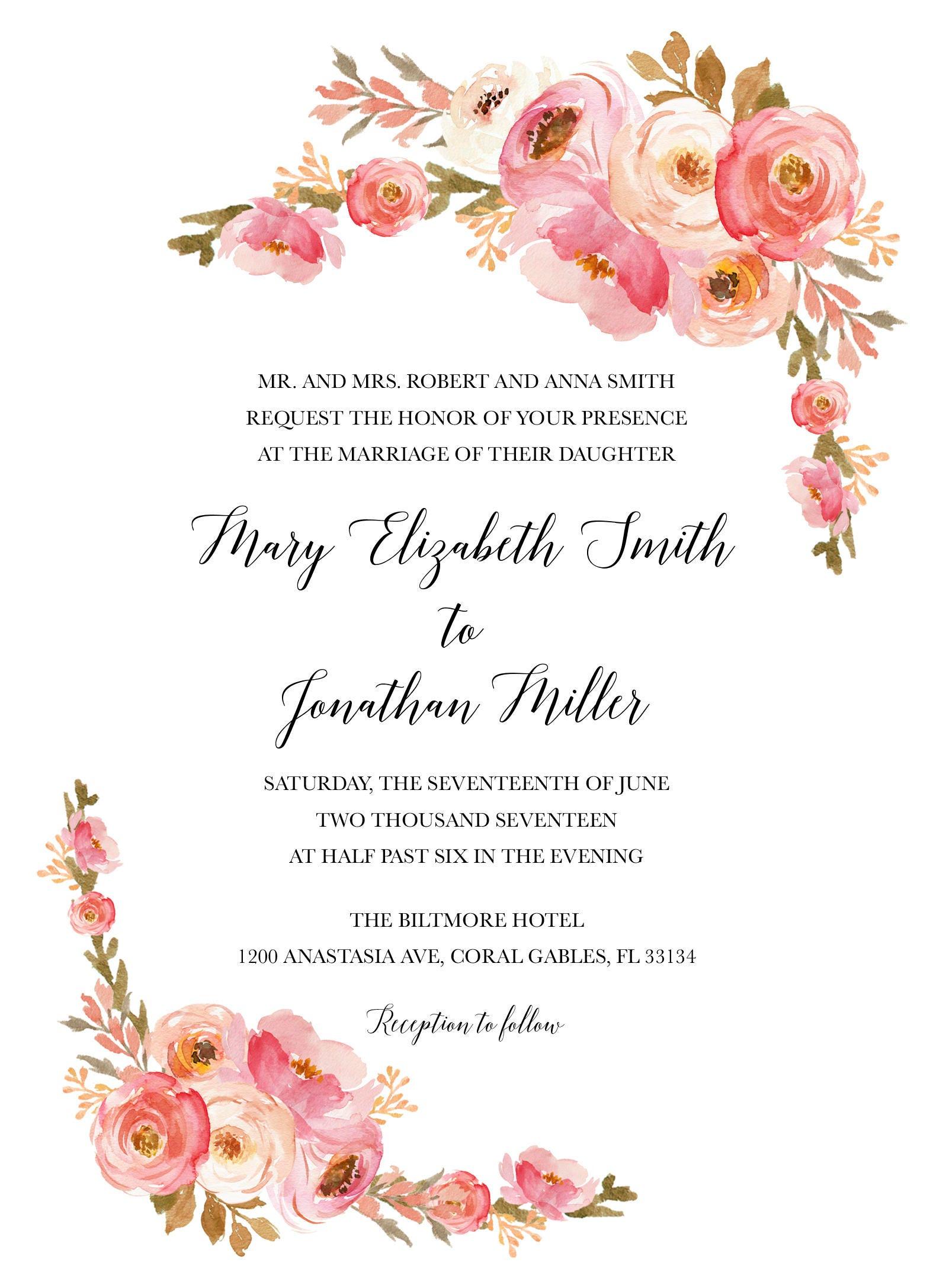 Blush Wedding Invitation, Pink Floral Wedding Invitation, Blush ...