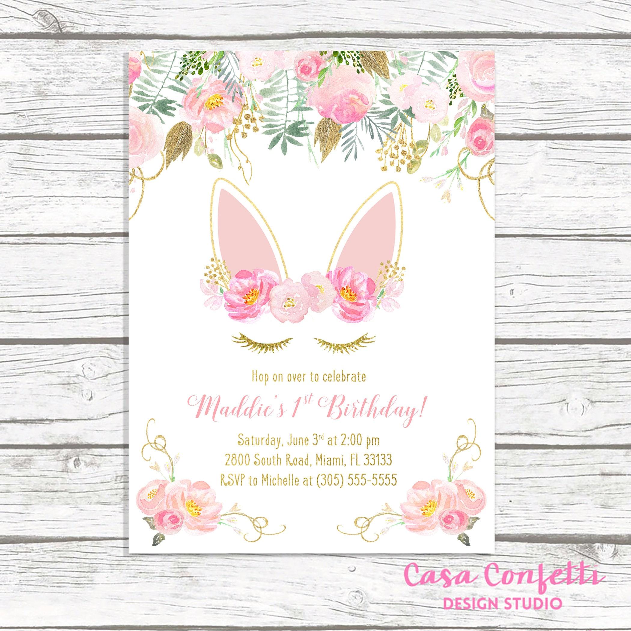 Bunny Birthday Invitation, Bunny Invitation, Pink and Gold Bunny ...