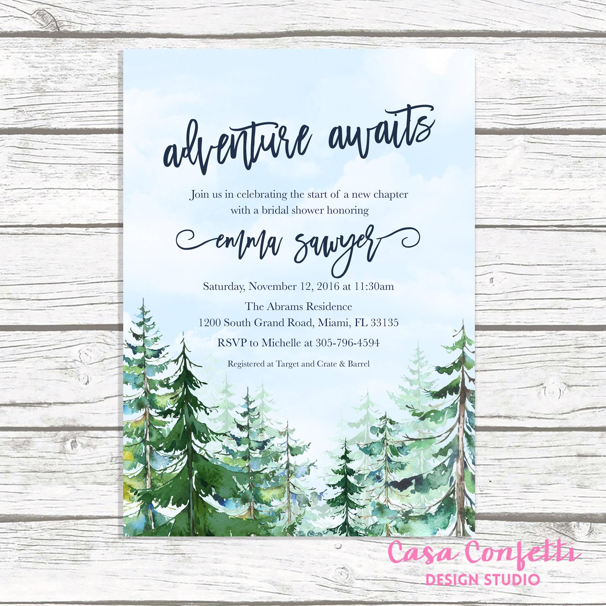adventure bridal shower invitation mountain bridal shower invitation conifer trees bridal shower winter bridal shower adventure awaits