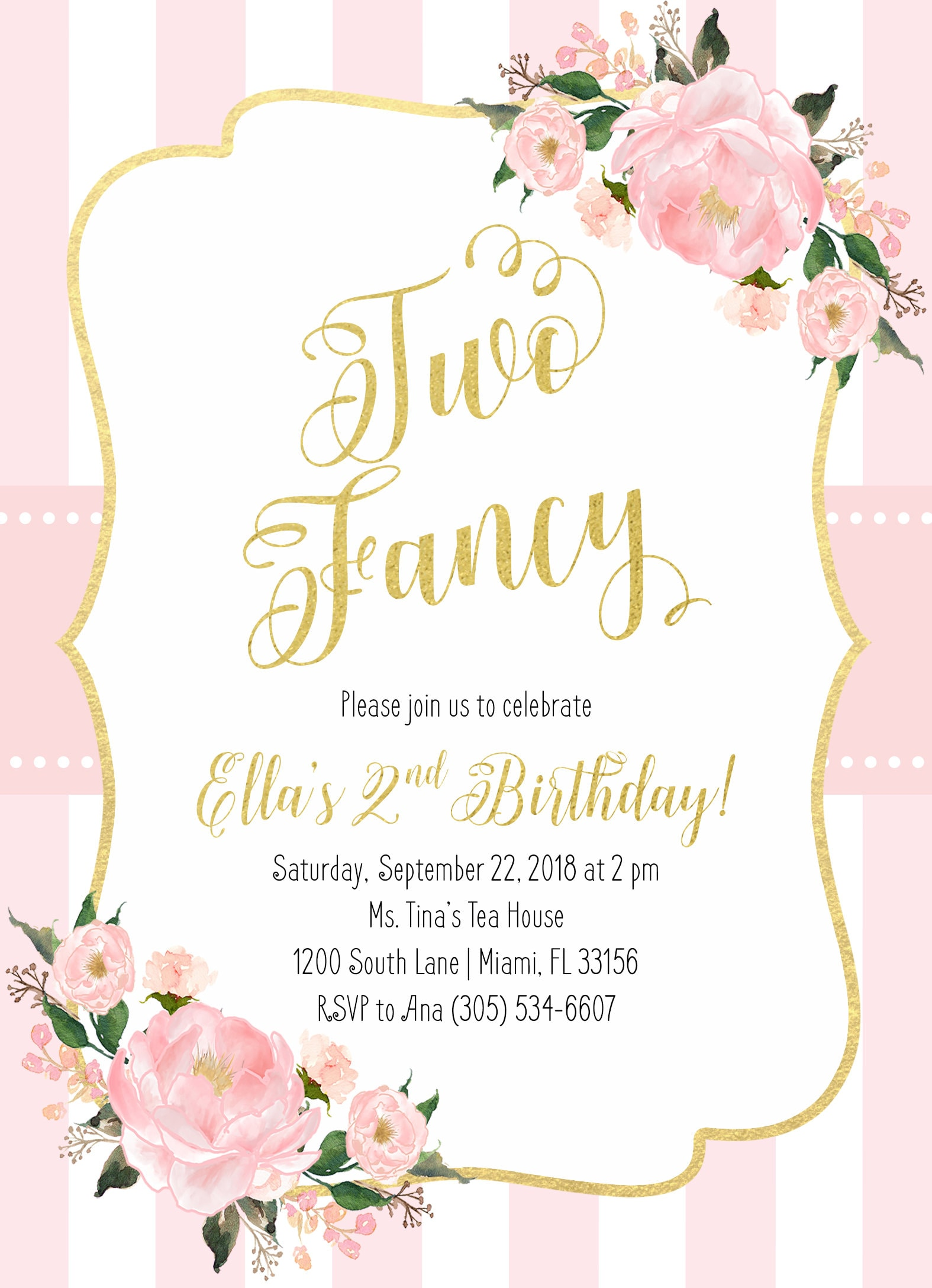 Pink Gold Birthday Invitation Gallery Photo