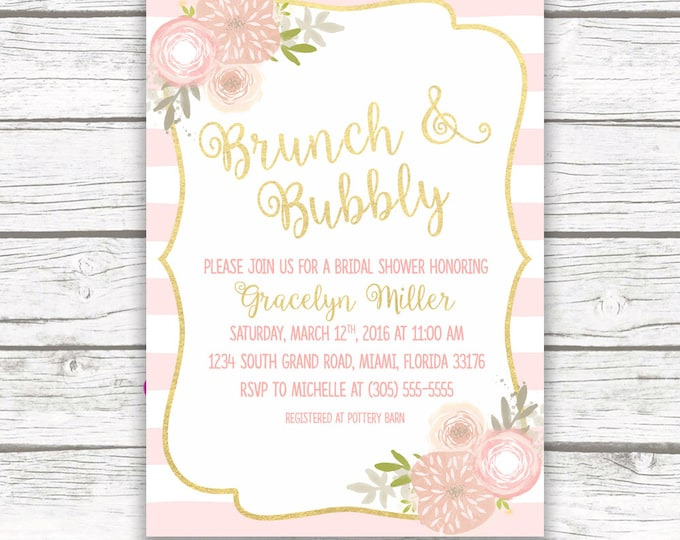 Pink and Gold Floral Brunch and Bubbly Bridal Shower Invitation, Gold Foil Striped Stripe Wedding Invite, Printed or Printable Invitation