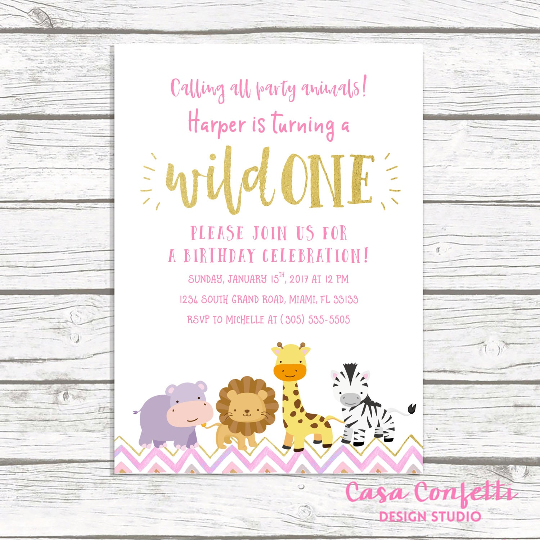 Wild One Birthday Invitation, Safari Birthday Invitation, First 1st ...