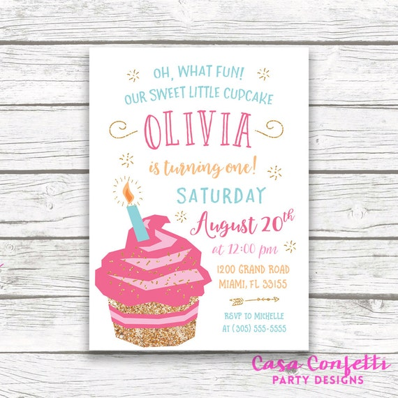 cupcake birthday invitation cupcake invitation first birthday