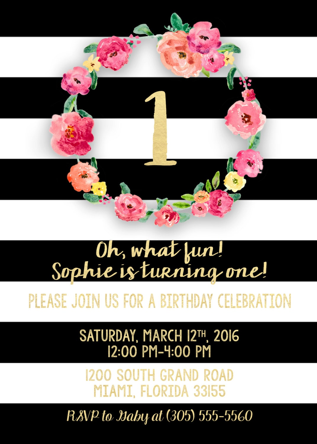 First Birthday Invitation Girl Black And White Floral Pink Gold Stripe Invite