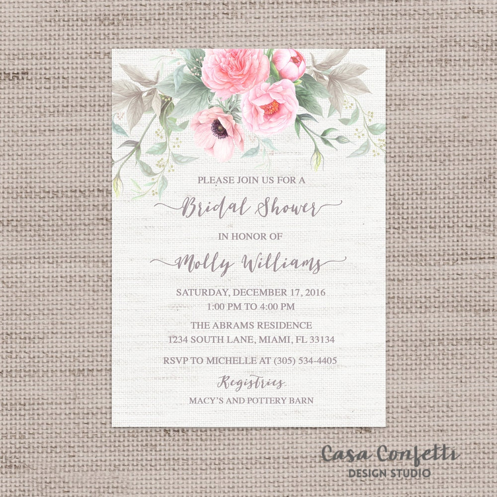 Pink Floral Bridal Shower Invitation And Gray Anemone Invite Peony Green