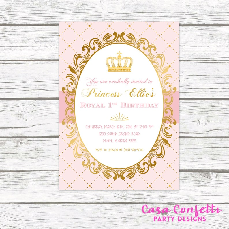 Pink And Gold Princess Birthday Party Invitation Blush