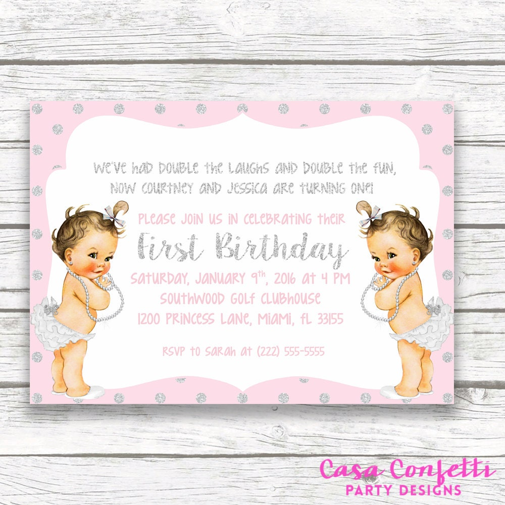 pink and silver glitter twin girl birthday party invitation first
