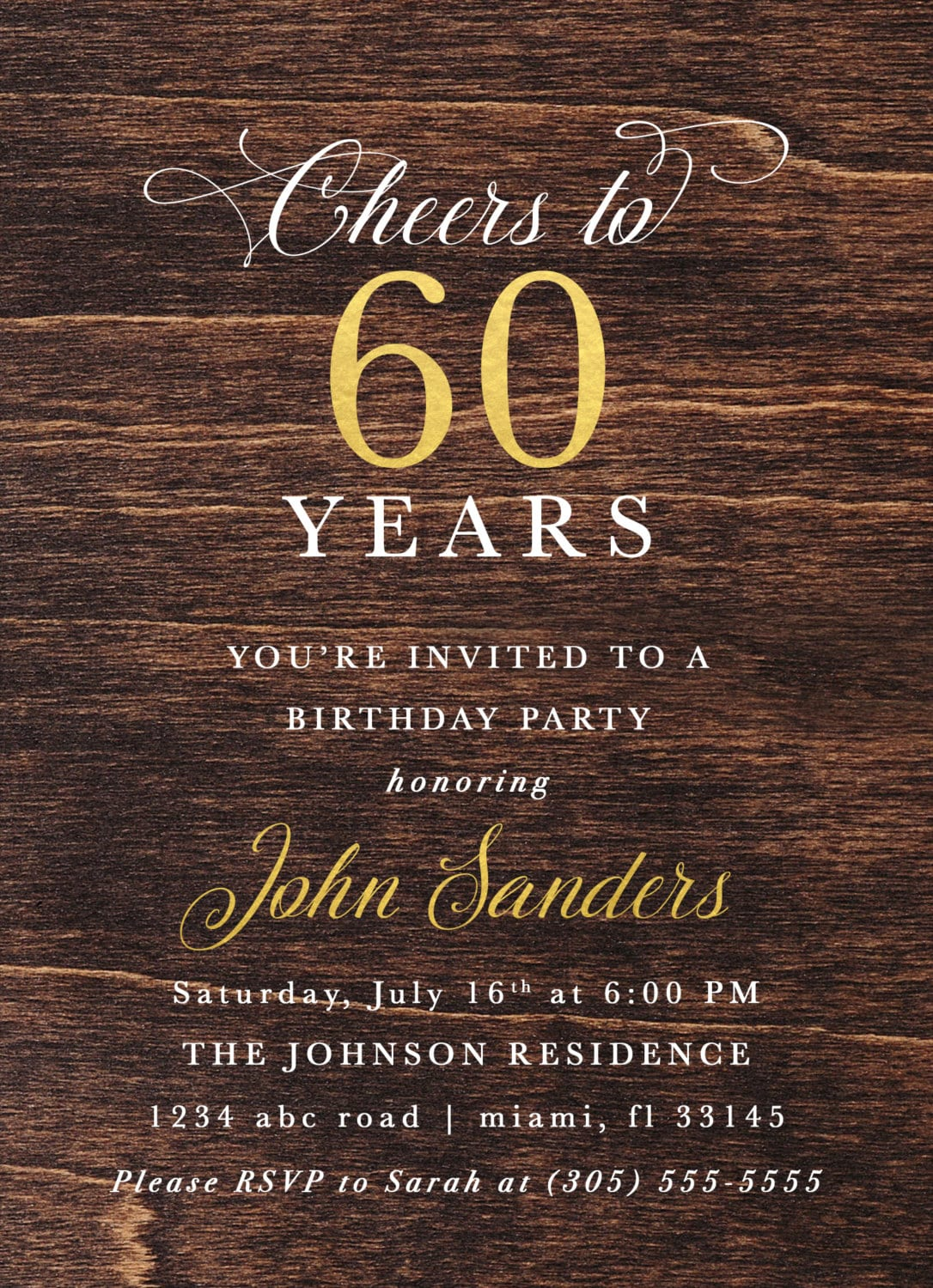 60th Birthday Dark Wood Gold Foil Male Invitation Adult Cheers To 50 60 80 Years Cigar Man Printed Printable Invite
