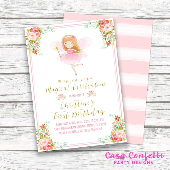 Fairy Birthday Invitation Princess Pink And Gold Girl First 1st Invite Printable