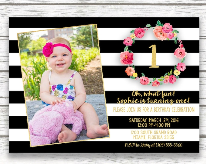 Black and White Stripe Gold Foil First Birthday Photo Invitation, Striped Pink Floral Wreath Girl One 1st Birthday, Printed Printable Invite