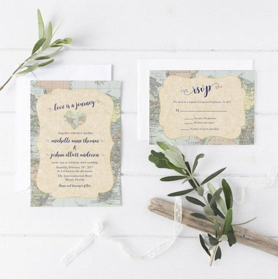 Destination Wedding Invitation Travel Wedding Invitation Map