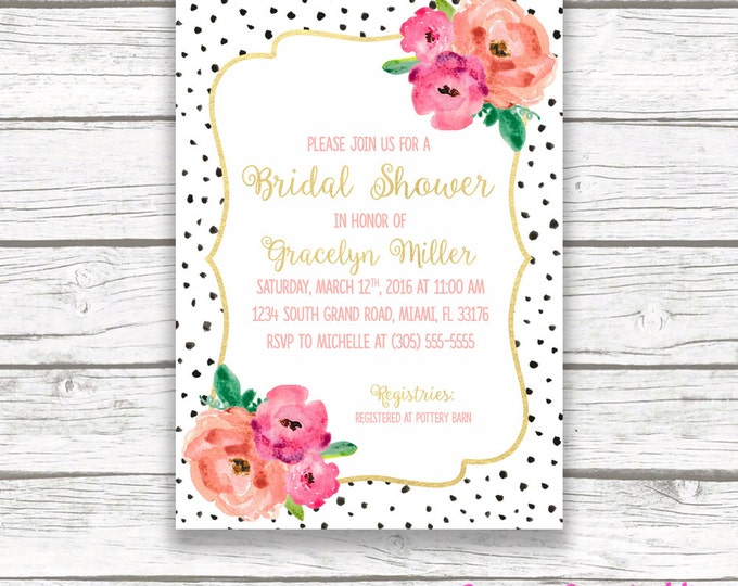 Black and White Floral Bridal Shower Invitation, Polka Dot Gold Foil Pink Flower Bouquet Invite, Preppy Spade Printable, Matching Back