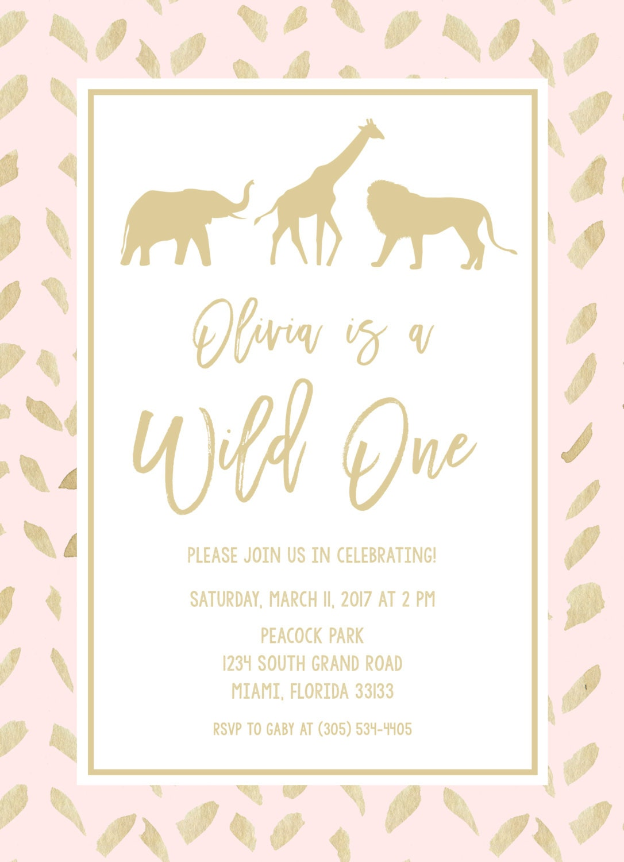 Wild One Birthday Invitation, Pink and Gold Tribal Safari Animal ...