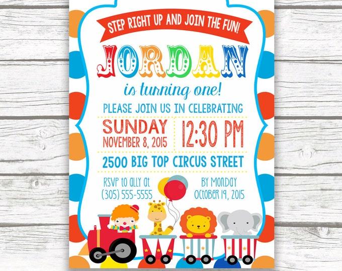 Circus Birthday Party Invitation, Polka Dot Carnival Birthday Invitation, First 1st Birthday, Printed or Printable Invitation, Matching Back