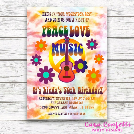 hippie birthday invitation tie dye invitation 60s birthday etsy