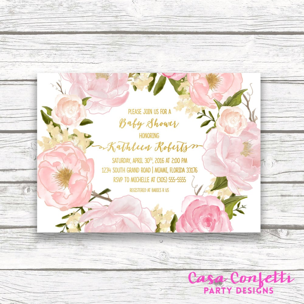 Rose baby shower invitation floral baby shower invitation girl rose baby shower invitation floral baby shower invitation girl boho baby shower invite pink and gold foil printable invitation filmwisefo