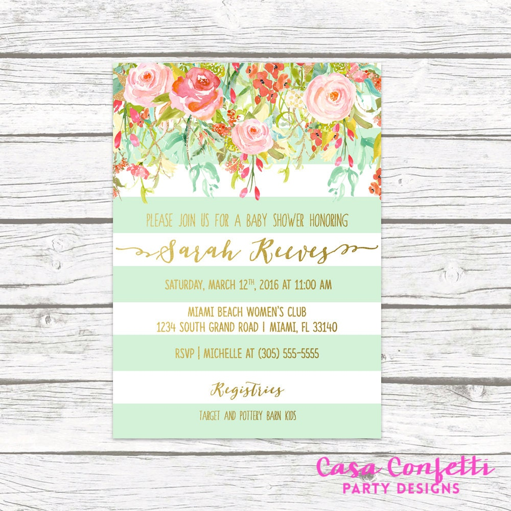 floral baby shower invitation girl boho baby shower invite spring