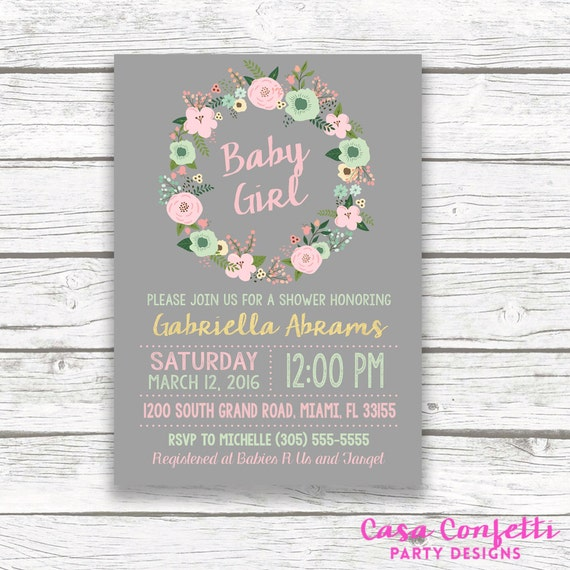 Gold Foil Boho Baby Shower Invitation Pink And Mint Green Etsy
