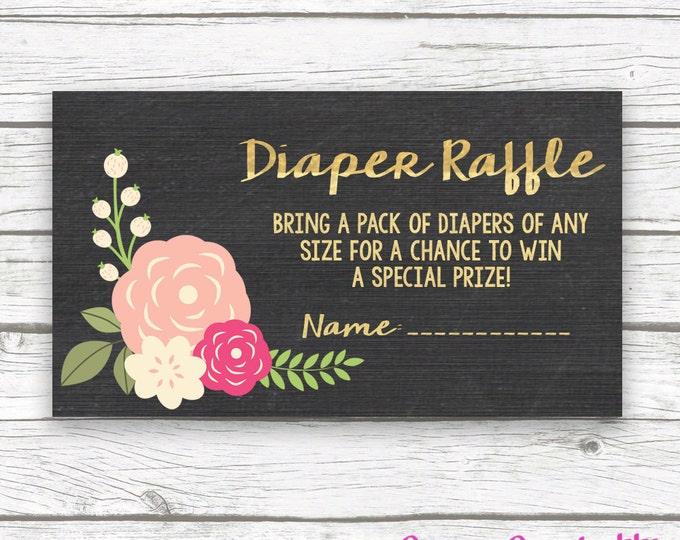 Chalkboard Gold Foil Peach Floral Baby Shower Diaper Raffle Ticket Invitation Insert, Pink Peony Diaper Raffle Ticket, Baby Girl Shower