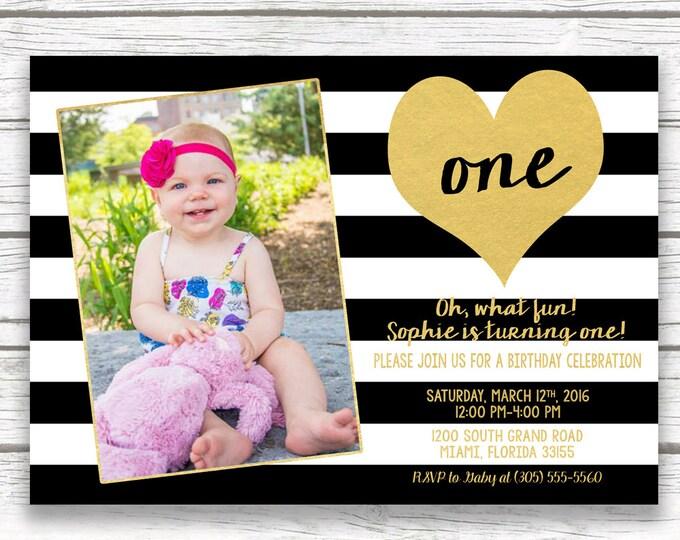 First 1st Birthday Invitation Girl, Black and White Stripe Birthday Invitation, Gold Heart Birthday Invitation, First Birthday Photo Invite