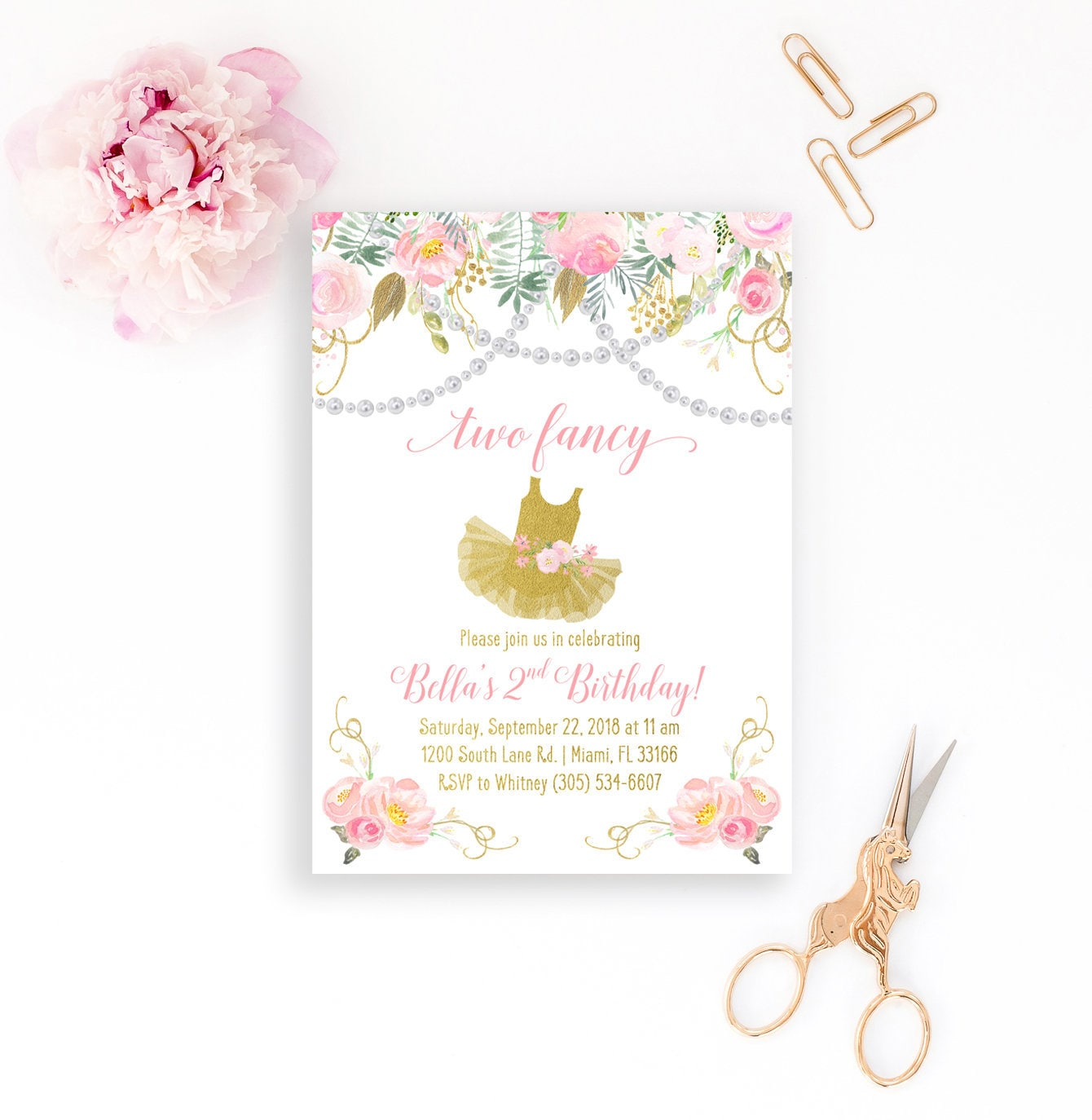 Two fancy birthday invitation second birthday invitation tea party two fancy birthday invitation second birthday invitation tea party birthday invitation pearls invite pink and gold birthday invitation filmwisefo