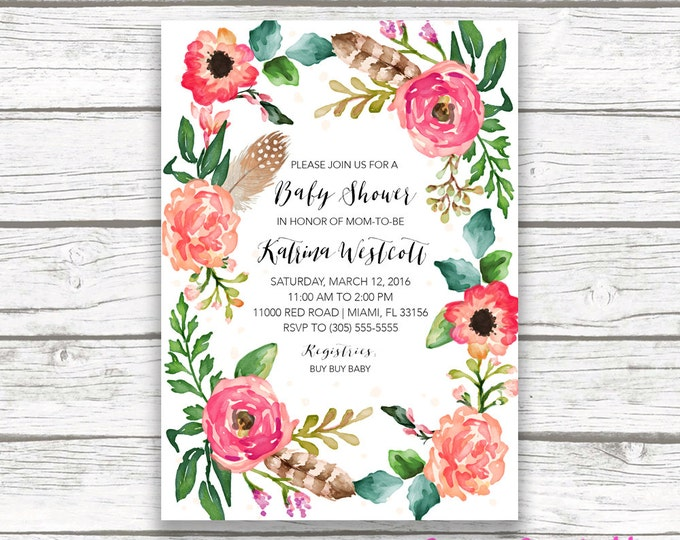 Boho Floral Wreath Baby Shower Invitation, Watercolor Feather Flower Boy Girl Shower Invite, Pink Coral Southwestern Bohemian, Printable