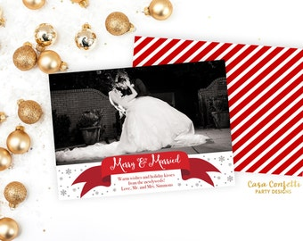 Merry and Married Christmas Holiday Photo Card, Silver Glitter Snowflake Newlywed Christmas Card, Printed or Printable with Matching Back