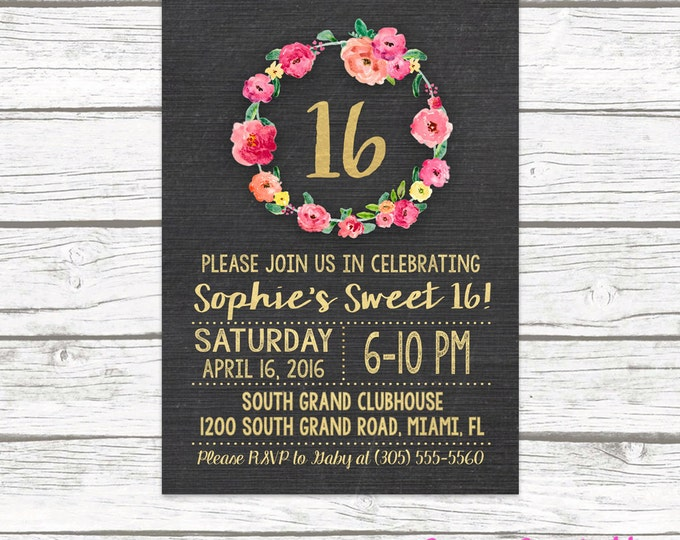Chalkboard Gold Foil Sweet 16 Birthday Invitation, Girl 16th Birthday Pink Floral Wreath, Printed or Printable Invitation, Matching Back