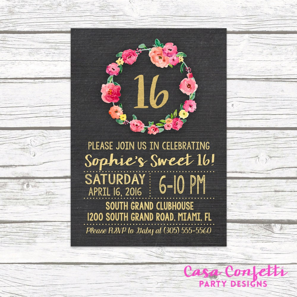 Chalkboard Gold Foil Sweet 16 Birthday Invitation Girl 16th
