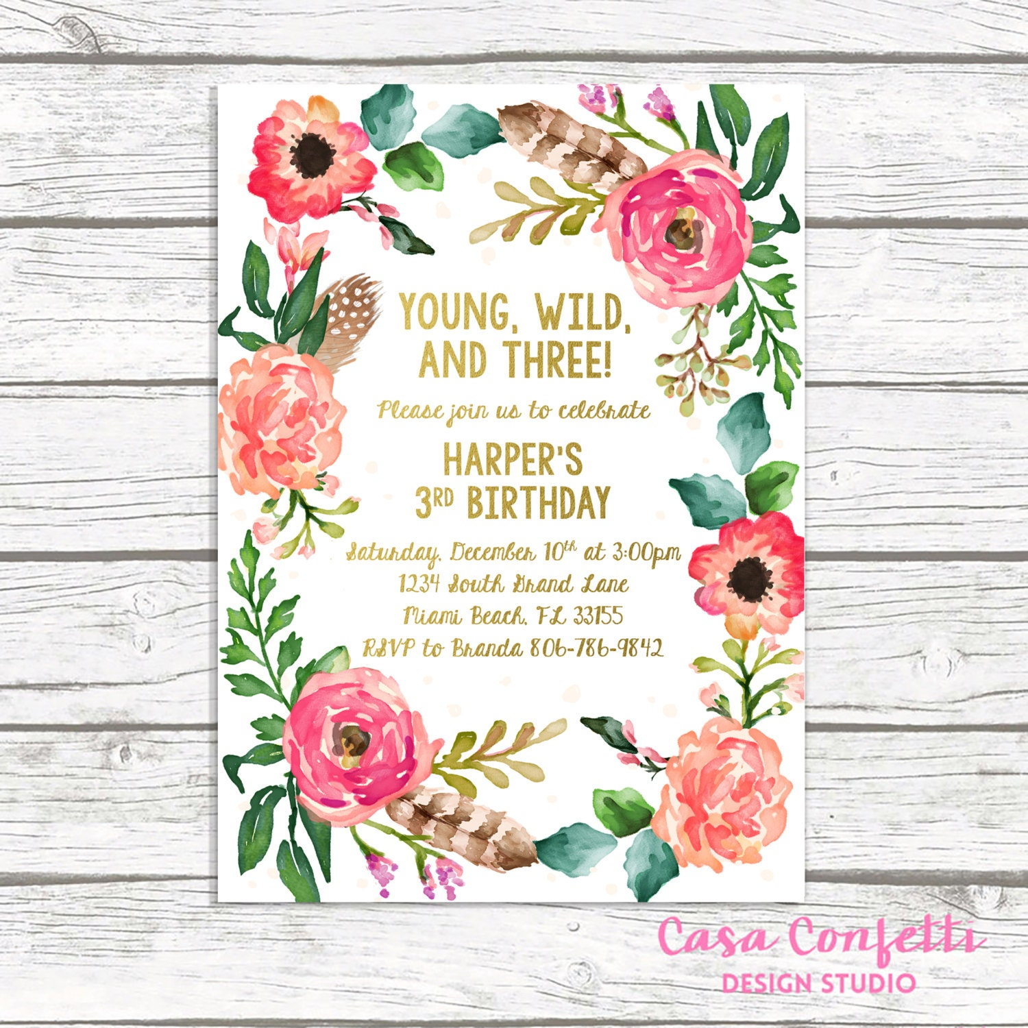 young wild and three birthday invitation wild and three boho