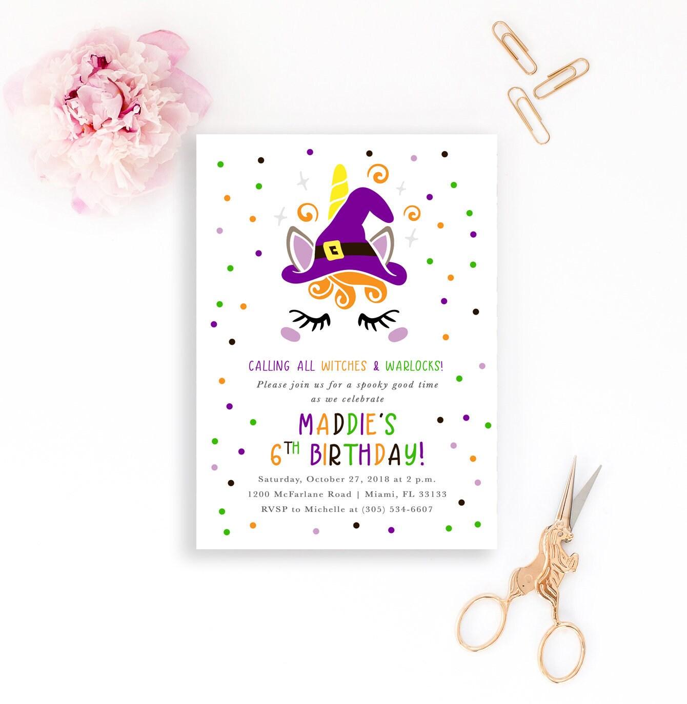 Witch Halloween Invitation Unicorn Birthday Girl 1st First Invite