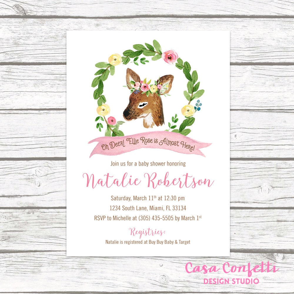 Deer baby shower invitation woodland baby shower invitation girl deer baby shower invitation woodland baby shower invitation girl oh deer baby shower invite spring baby shower invitation printable filmwisefo