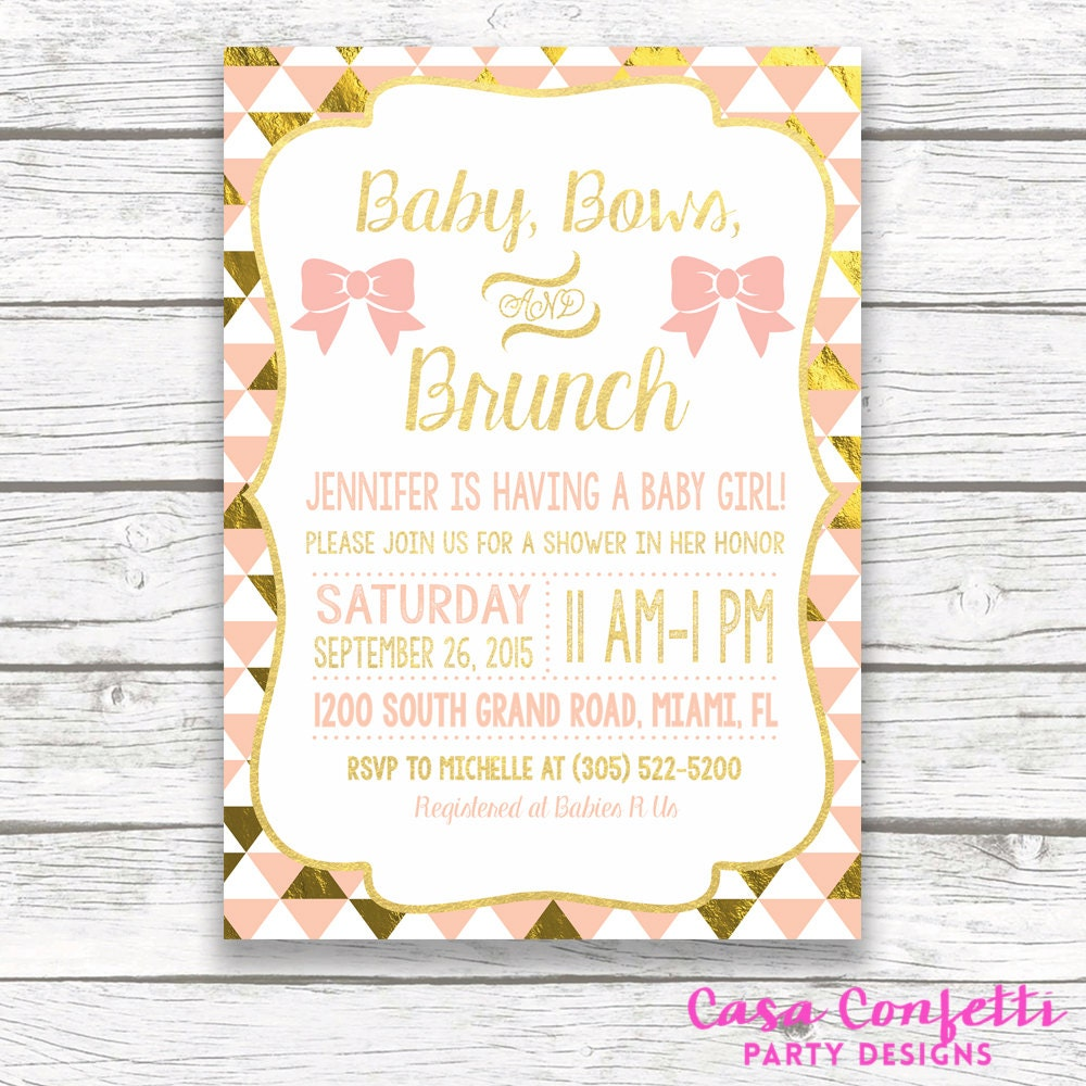 Baby Shower Brunch Invitation Baby Bows And Brunch Peach And Etsy