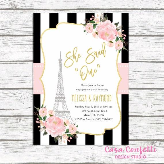 Paris Engagement Party Invitation French