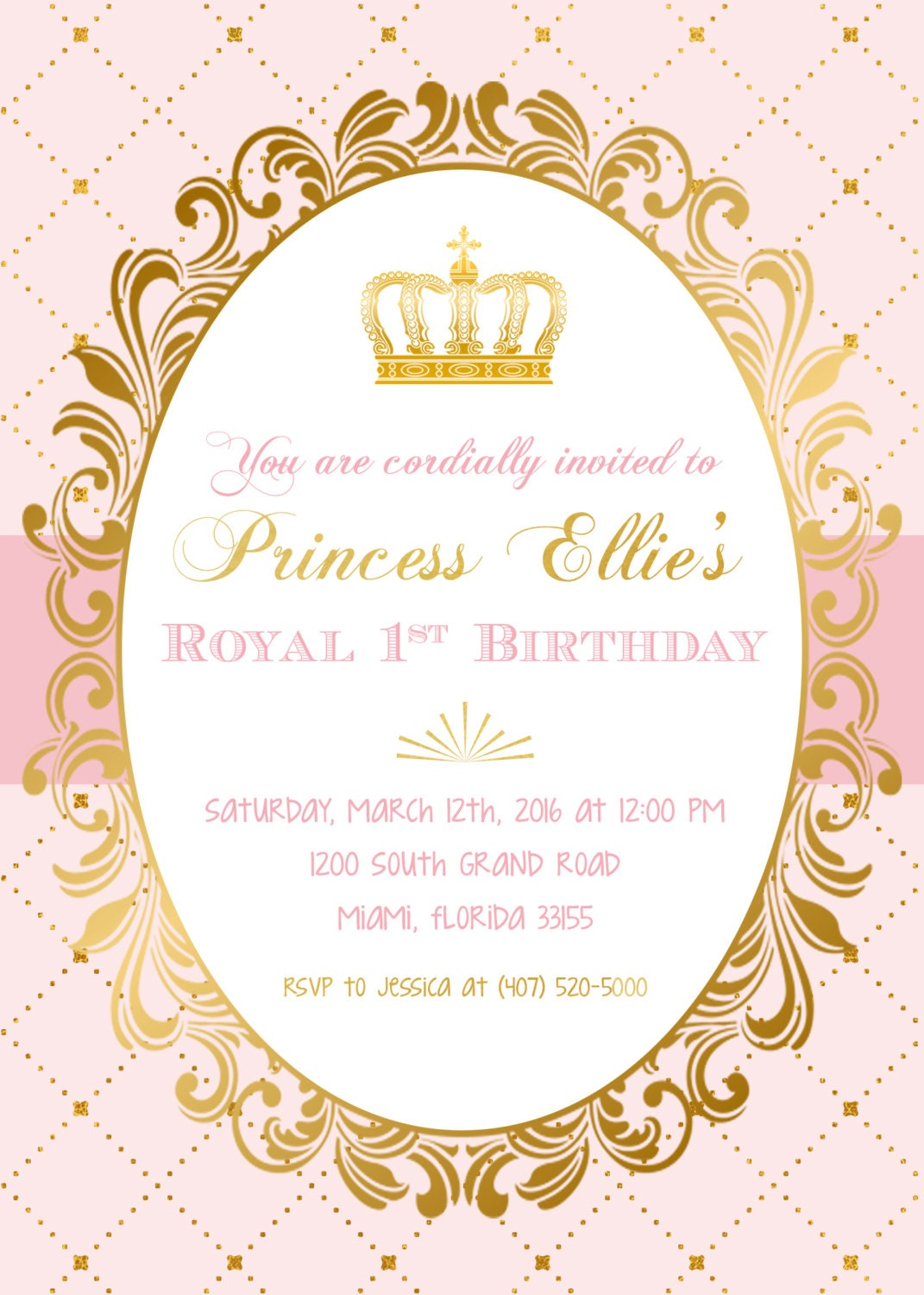 Party Invitation Blush Pink Gold Foil Princess Crown First 1st Royal Birthday Printed Or Printable Invite Gallery Photo
