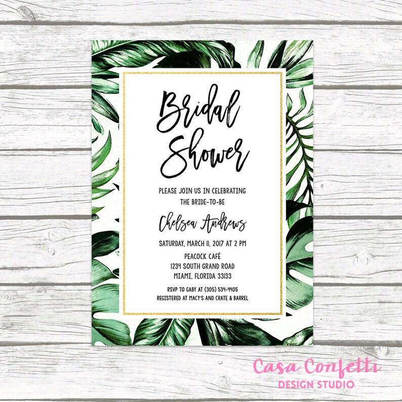 cba01b6c3618d Tropical Bridal Shower Invitation Tropical Invitation Palm