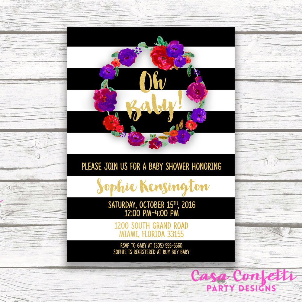 Oh baby black and white striped gold foil baby shower invitation oh baby black and white striped gold foil baby shower invitation red purple fall autumn winter floral wreath invite printed or printable filmwisefo