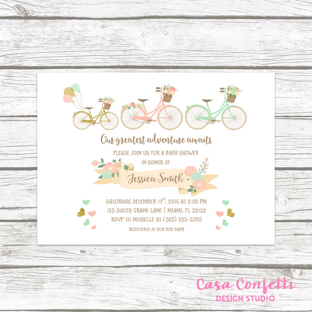 Bicycle baby shower invitation our greatest adventure awaits floral bicycle baby shower invitation our greatest adventure awaits floral invite boy girl gender neutral gold pink mint printed or printable filmwisefo