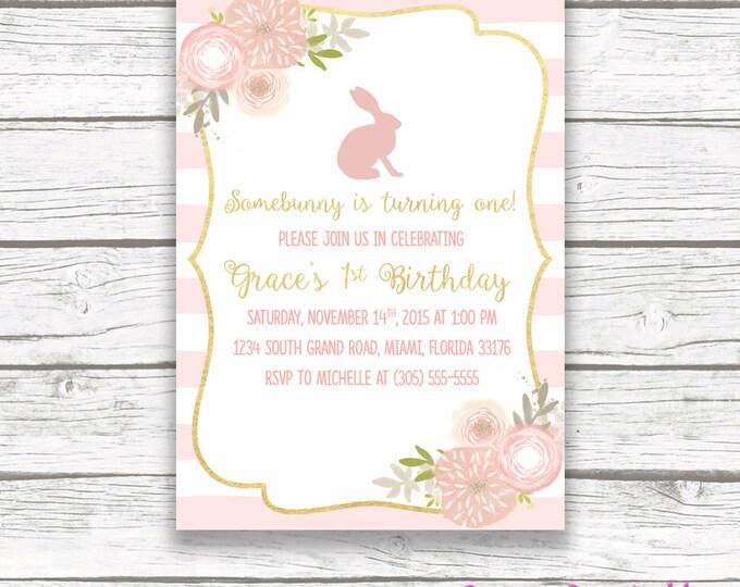 Bunny Birthday Invitation, Easter Birthday Invitation, Somebunny is Turning One Invite, Pink First 1st Birthday Invitation Girl, Printable