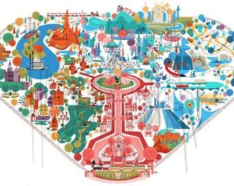 Vintage Disneyland Inspired Fun Map Illustration