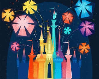 Dream In Wonderful Color Castle Illustration (Print)