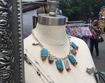 Turquoise, Amber and Silver Choker