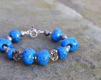 Egyptian Faience Beads & Sterling Bracelet (1-of-A-Kind) from anonadejuana.com